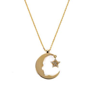Atatürk Silüetli Ay&Yıldız Altın Kolye 14KLY983