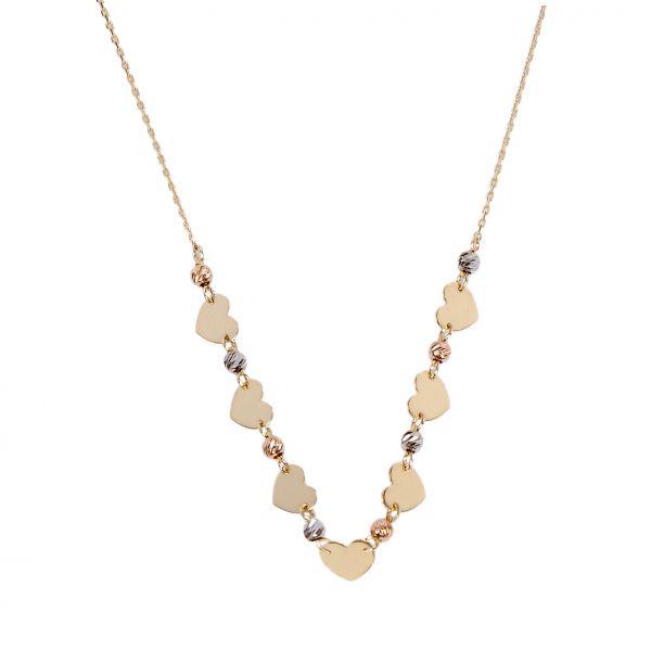 Dorika Toplu Kalp Altın Kolye 14KLY2617