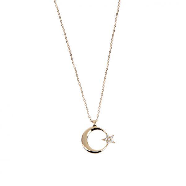 Taşlı Ay&Yıldız Altın Kolye 8KLY752