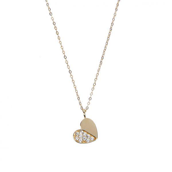 Taşlı Kalp Altın Kolye 8KLY750