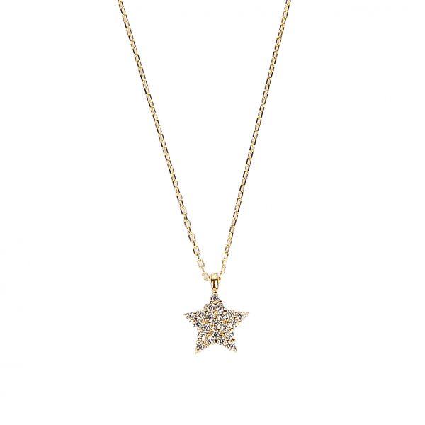 Taşlı Yıldız Altın Kolye 8KLY528