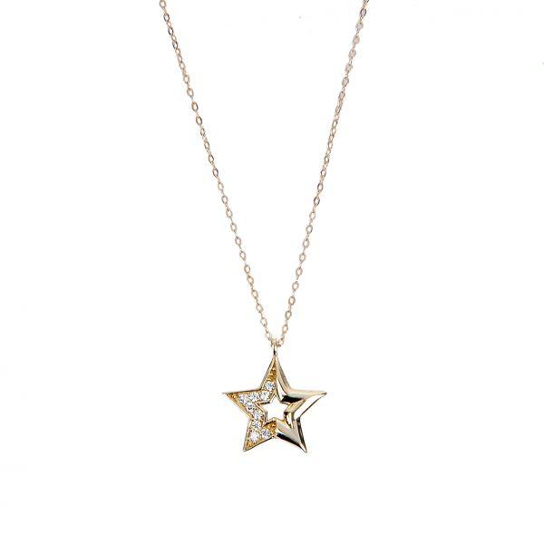 Taşlı Yıldız Altın Kolye 8KLY744
