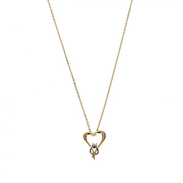 Tektaşlı Kalpli Altın Kolye 14KLY1656